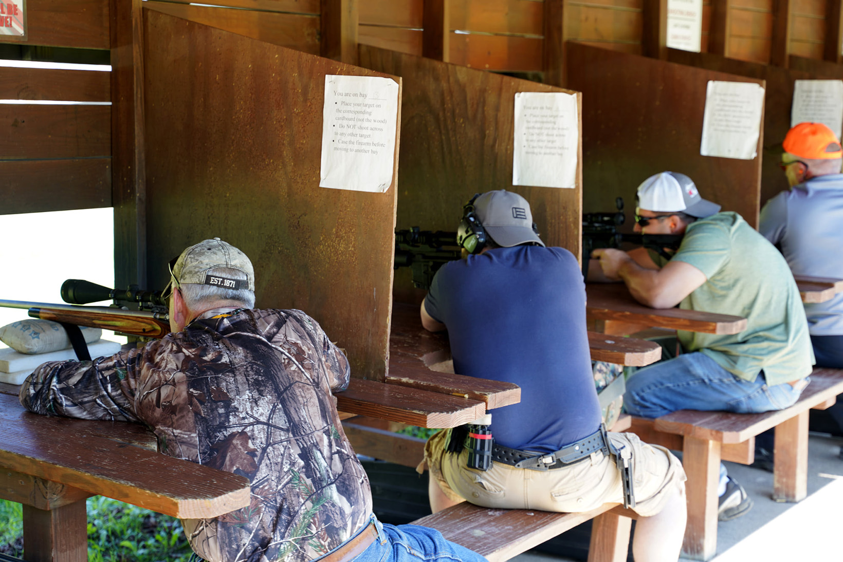 100 yard and 50 yard rifle range with shooting benches
